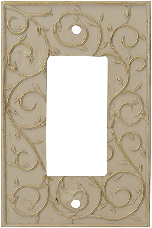 Meriville French Scroll 1 Rocker Wallplate Single Switch Electrical Cover Plate Ivory