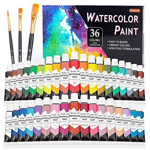 Watercolor Paint Set, Shuttle Art 36 Colors Watercolor Paint in Tubes (12ml Each) with 3 Brushes, Rich Pigment, Easy to Blend, Perfect for Kids, Artists, Beginners, Students