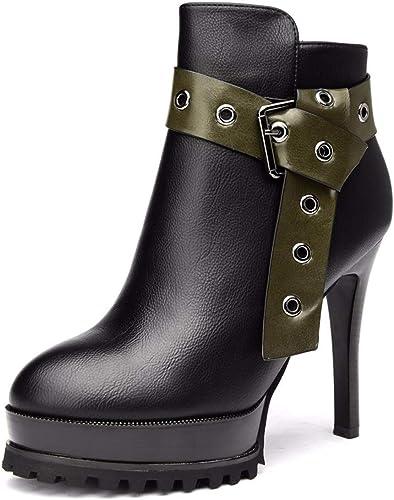 LBTSQ-Mode Chaussures Femme Haut 11Cm Court Bottes étanches Fine Ceinture De Sauvages Talon Plate - Forme La Boucle De Ceinture Dingxue Velours Mahomme