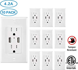 USB Outlet Charger Wall Plate 10Pack, 4.2A High Speed Decora Outlet Receptacle with Dual USB Ports 15A 125V 60Hz Tamper Resistant & Free Faceplate