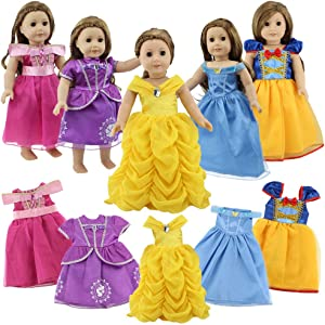 18 Inch Doll Clothes, 5 Pc Different Princess Costume Dress Set Includes Bella, Cinderella, Snow white, Mermaid and Aurora costume Dress Fits American Girl Dolls, My Life As Doll