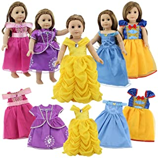 18 Inch Doll Clothes, 5 Pc Different Princess Costume Dress Set Includes Bella, Cinderella, Snow white, Mermaid and Aurora...
