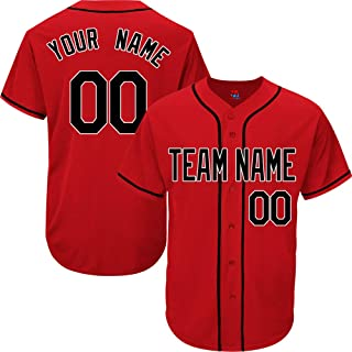 Red Custom Baseball Jersey for Men Women Youth Practice Embroidered Your Name & Numbers S-8XL - Design Your Own