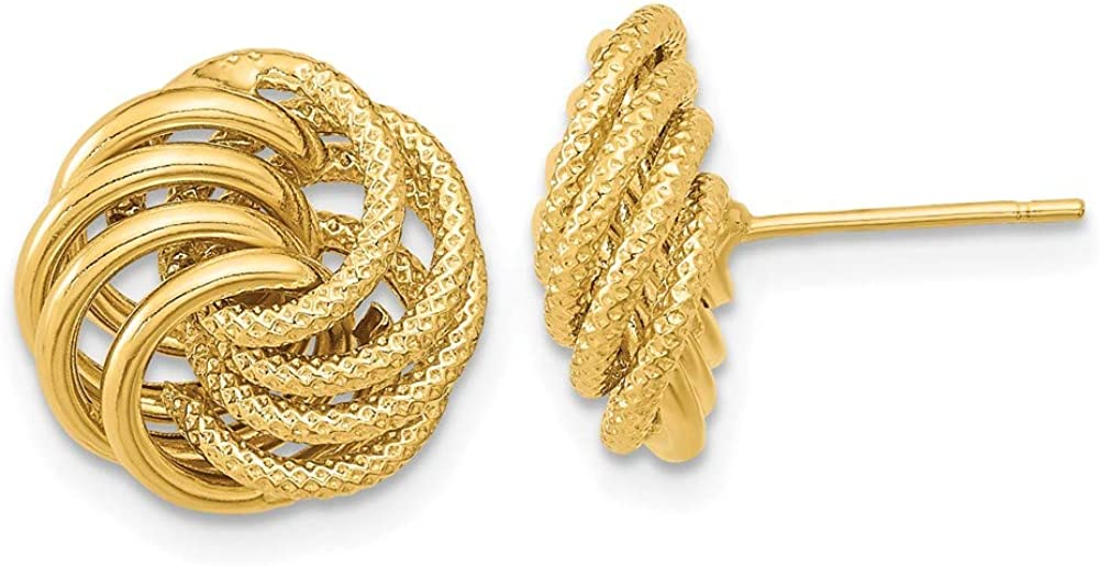 14k Yellow Gold Textured Swirl Post Stud Earrings Ball Button Love Knot Fine Jewelry For Women Gifts For Her