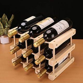 JY&WIN Soporte para botellero de Madera Apilable Vintage Estante para Almacenamiento de Vino de encimera Independiente De...