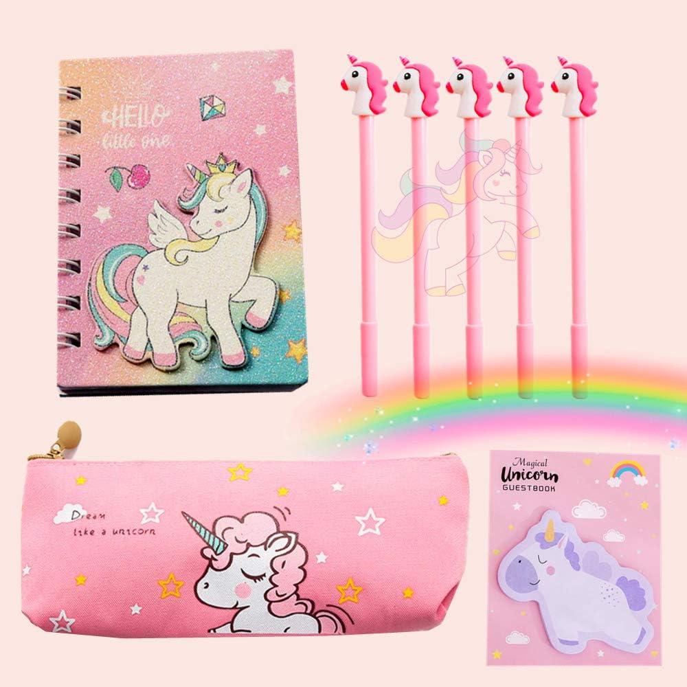 JeVenis 8 unidades de unicornio papelería regalo notas de unicornio, bolígrafo de unicornio, bolsa de lápices para fiestas, oficina, escuela, regalo