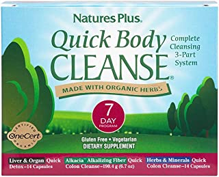 NaturesPlus Quick Body Cleanse Kit - 7 Day Morning & Evening Program, 28 Vegetarian Capsules - Alkalizing Colon Cleanse - Supports Weight Loss & Healthy Liver - Organic, Gluten-Free - 28 Servings