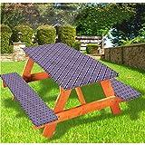 LEWIS FRANKLIN - Cortina de ducha geométrica de lujo para picnic, mantel, otras formas con borde elástico, 70 x 72 pulgadas, juego de 3 piezas para mesa plegable