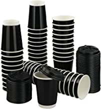 Anbers 12 oz Paper Coffee Cups with Travel Lids, Pack of 100, Black