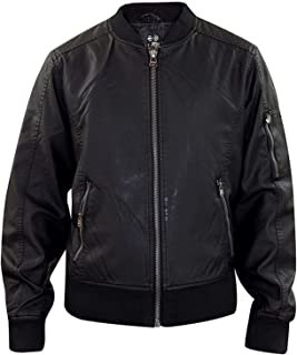 Crosshatch Mens MA1 Quilted Leather Look PU Lined Biker Jacket
