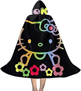 Colorful Hello Kitty Hooded Cape for Kids Children's Cloak with Hood for Halloween Role Play Devil Vampire Wizard