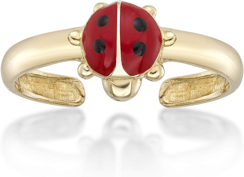14K Yellow Gold Ladybug Toe Ring