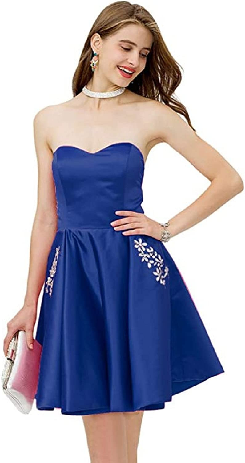 Adodress Sweetheart Satin Strapless Short Prom Homecoming Dress with Beaded Pocket