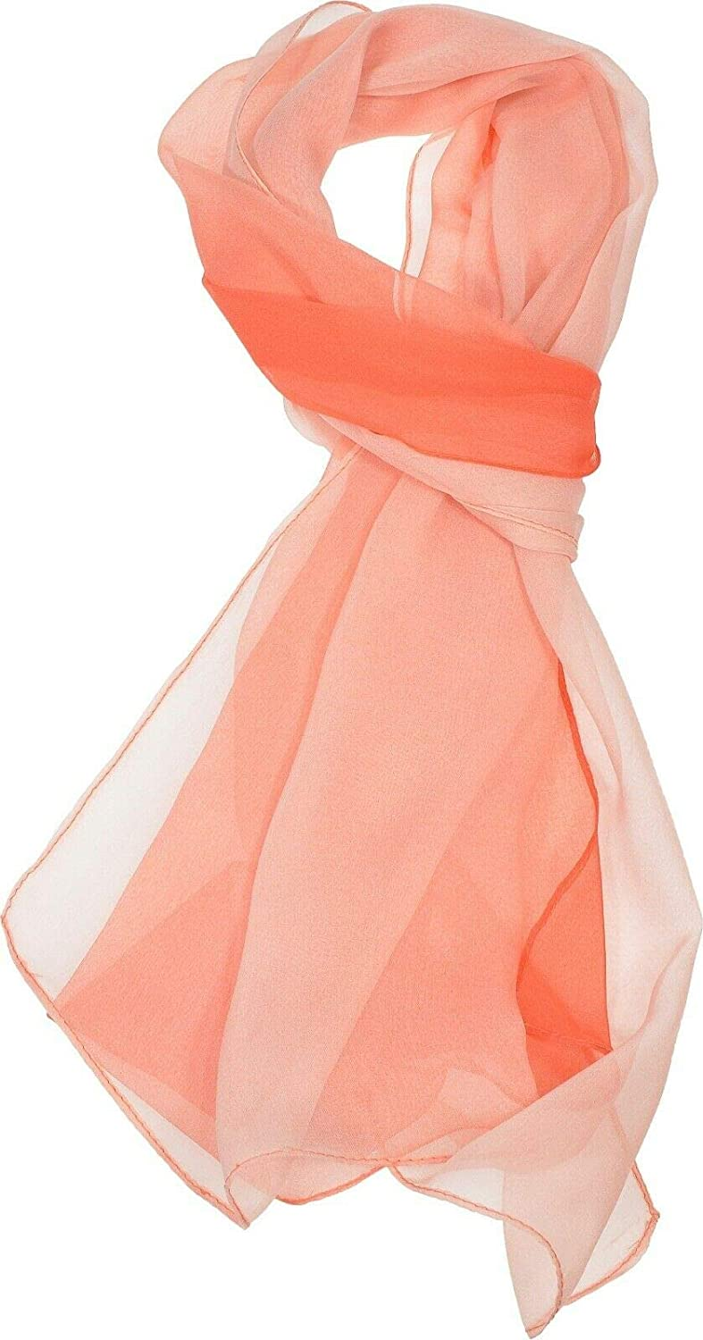Coral Women's Two-Tone Silk Blend Scarf Ombre Oblong Scarf Lightweight #APTM