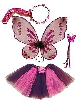 Enchantly Girls Fairy Costume Brown, Pink - Rosebud Halo, Wand, Pixie Wings, Tutu 4-10