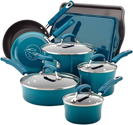 Rachael Ray Hard Enamel Nonstick 12-Piece Cookware Set (Marine Blue)