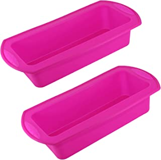 Silicone Loaf Pan for Baking Bread Toast Molds Value 2 Pack Reusable Food Grade Bakeware Pans for Homemade Breads Cakes (2...
