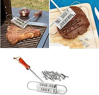 交換可能な文字と便利な引き紐キャリーバッグとプラスチックレターケース付きの、BBQミートブランドアイアンツール、労働日のギフト。