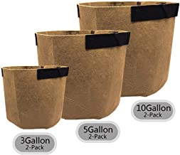 SingPad Grow Bags-3 Gallon/5 Gallon/10 Gallon Grow Bags w/Handles,6-Pack Aeration Smart Fabric Pots for Growing Trees, Plants, Flowers, Vegetables, Tomatoes and Potatoes (Tan)