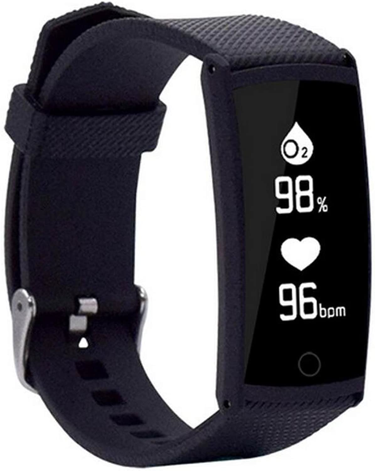 Blood Pressure Heart Rate Blood Oxygen Test Sleep Sedentary Reminder Call Reminders Calorie Step Smart Bracelet Smart Watch,BlackOneSize