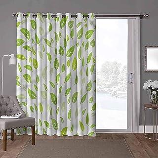 YUAZHOQI cortinas aisladas con reducción de ruido, hoja, hoja de verano de jardín, 100 x 200 cm de ancho x 200 cm de largo...