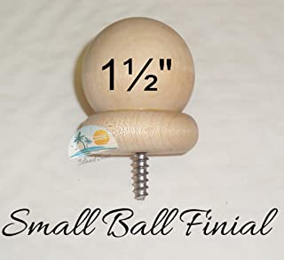 "BDH / Island Seas 1 1/2"" Round Wood Ball Finial for 1"" or 1 1/8"" Curtain Rod Ends with 3/16"" Screw"