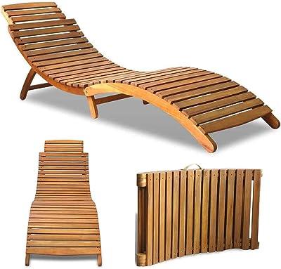 Amazon.com: Fesjoy - Tumbona plegable y reclinable de madera ...