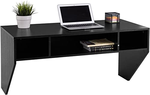 wholesale Giantex Wall Mounted Floating Computer Desk with Storage Shelves for Home Office Bedroom high quality online Home Work Station Desk, Black sale