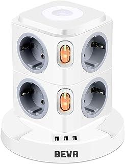 Regleta Enchufes con usb, BEVA Regleta Vertical Enchufes de 8 Tomas Corrientes y 3 Rápida USB Tomas, Torre Enchufes con lu...