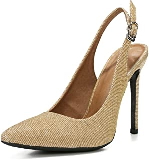 fereshte Womens Slingback High Heels Stiletto Pointed Toe Dress Pumps Shoes