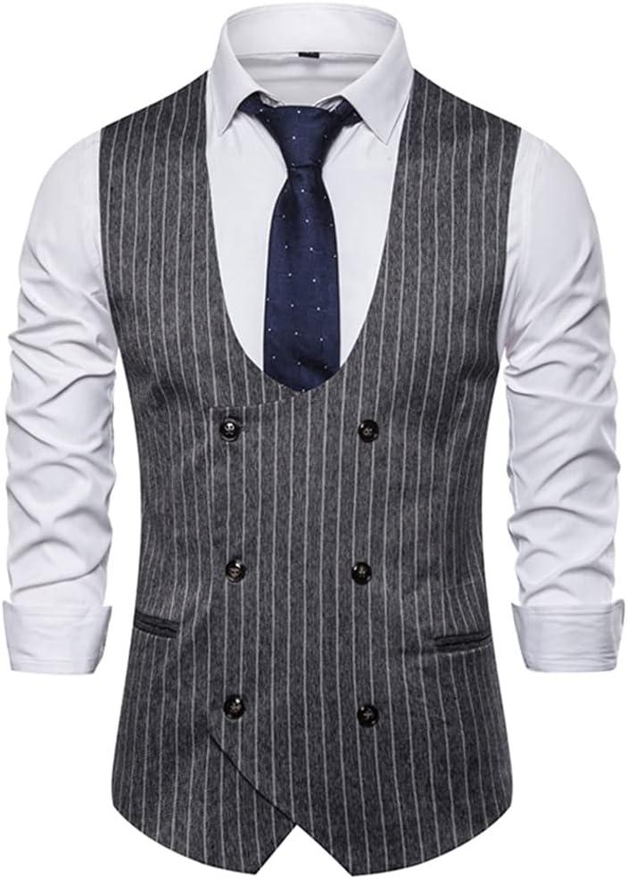 YFQHDD Men's Classic Vertical Striped Suit Vest Slim Fit Dress Vest Waistcoat Men Busienss Formal Wedding (Color : C, Size : XL code)