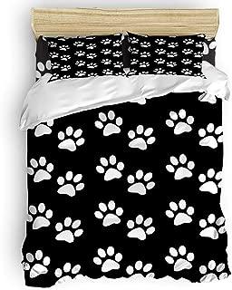 vnurhfmvn Duvet Cover Set Printed 4 Pcs Bedding Set Queen Size Include Duvet Cover, Bed Sheet, Pillow Shams Dog Paw Prints Black and White Soft Quilt Sets for Children/Adults