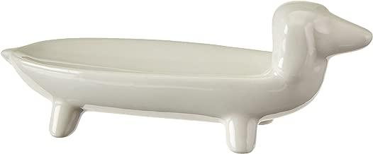 Creative Co-op White Ceramic Dog Ring Dish, 5.5
