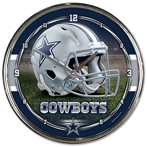 Nfl Football Team Chrome Wall Clock , Dallas Cowboys , 12-Inch