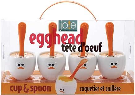 Preisvergleich für Joie Eierbecher und Löffel Set, Kunststoff, weiß 15x10x8 cm 4-Einheiten
