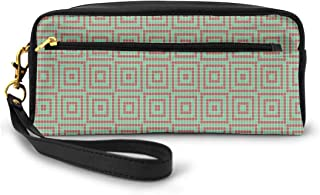 Pencil Case Pen Bag Pouch Stationary,Digital Pixel Featured Square Forms Diagonal Ethnic Mosaic Modern Motif,Small Makeup Bag Coin Purse