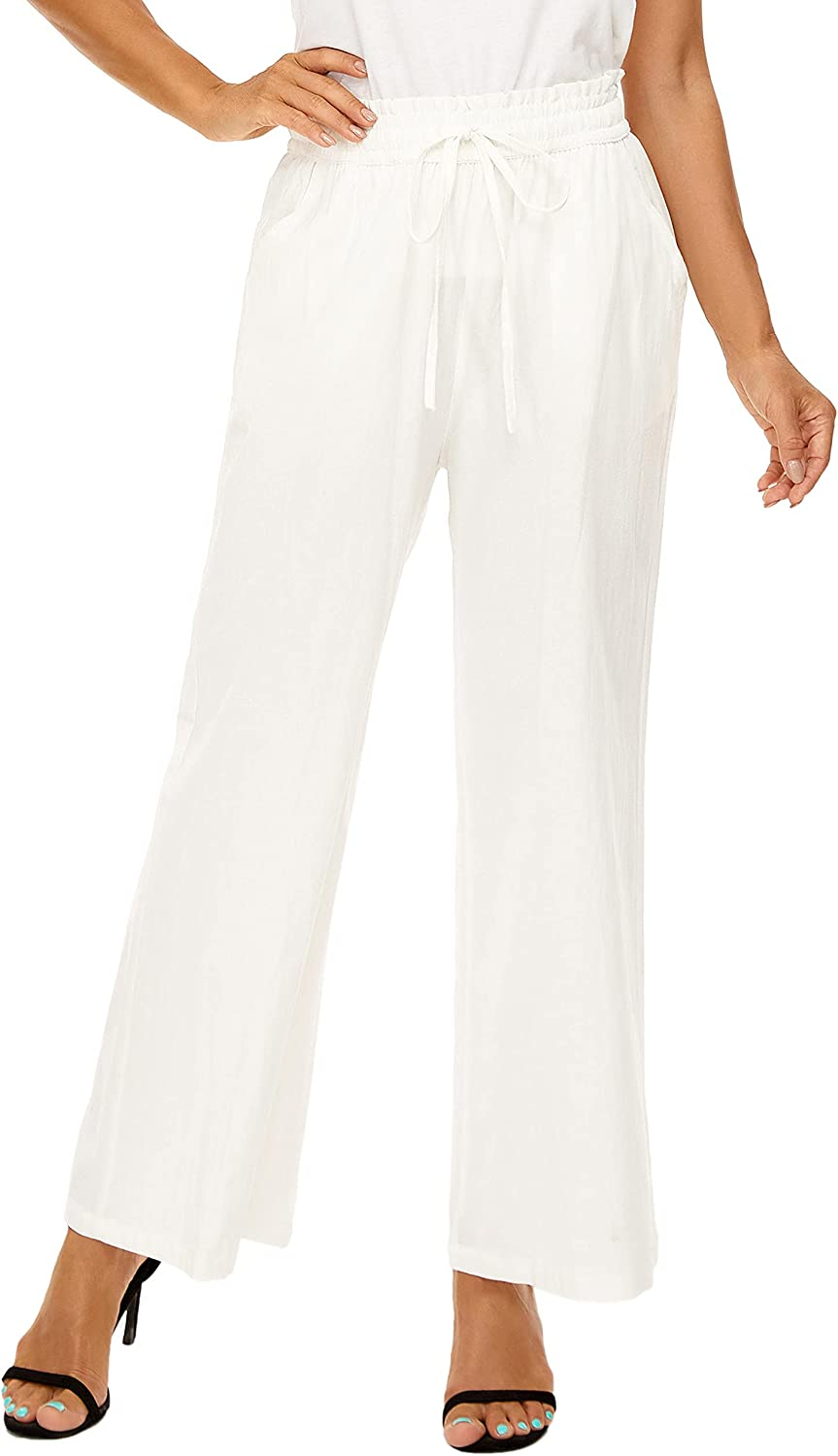 LNX Womens Casual Cotton Linen Pants Wide Leg High Waisted Solid Color Loose Trousers with Pockets