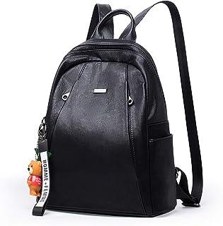Xuan Yuan Backpack - Women's PU Soft Leather Backpack, Multi-Function Large-Capacity Backpack, Lightweight Casual Travel Shoulder-Back Dual-use Handbag Backpack (Color : Black)