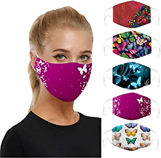 5PCS Bandana Face Dust Reusable Washable Cloth Protection Re Useable Fashion Fabric Breathable Rewashable Elastic String Cycling Motorcycle Balaclava Scarf (5PCS, A)