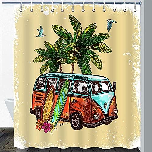 Cortina Duchade Surf Hippie Classic Vintage Old Bus Tabla de Surf Freedom Holiday Hawaiian Winter Tropical Plant Coconut Tree Juego de Cortinas de baño de Arte Colorido con 12 Ganchos 72x72In
