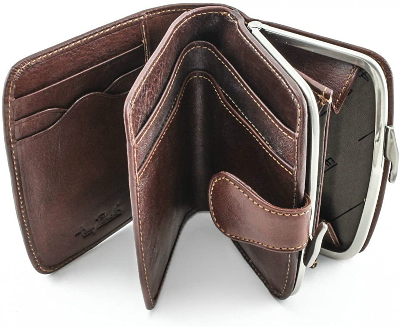 Tony Perotti Womens Italian Bull Leather Framed Euro Expandable Coin Purse and Credit Card Wallet with ID Window