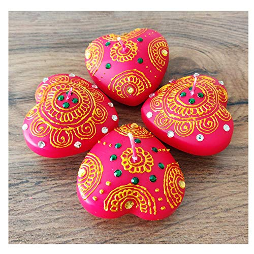 A1 Craft Red Heart Shaped Floating Candle Christmas,Diwali and Wedding Decor-Pack 4