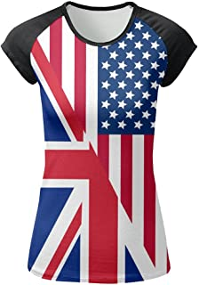 American and UK Flag Women's Front Printing Round Neck Short Sleeve T-Shirt