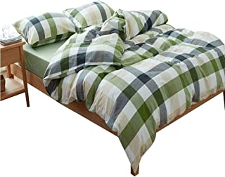 AMWAN Luxury Green Plaid Duvet Cover Set Twin Boys Girls Grid Bedding Set Lightweight Washed Cotton Duvet Comforter Cover Set Hotel Soft Twin Bedding Collection 1 Duvet Cover with 2 Pillowcases