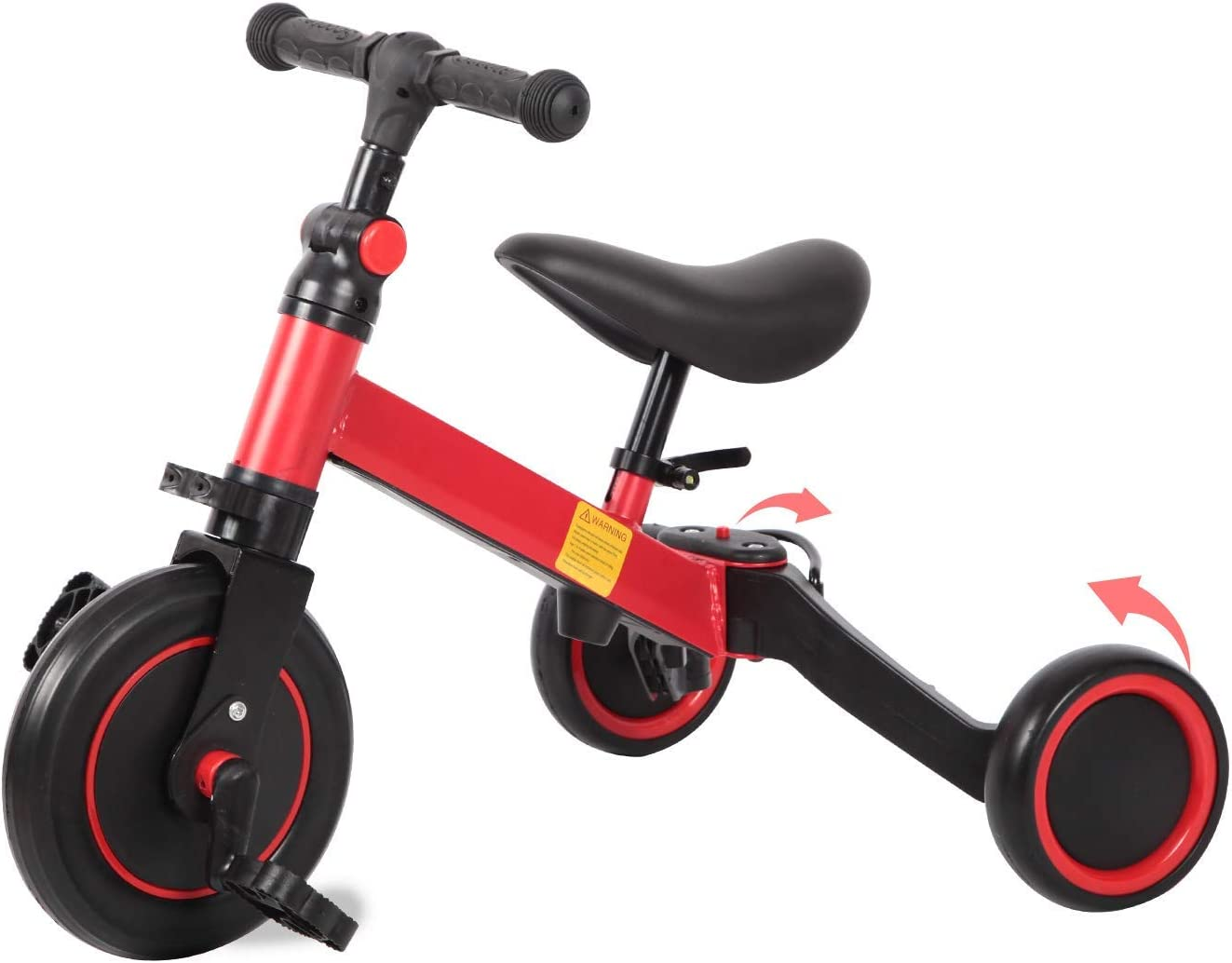 Diroan Kids Tricycles for 1-3 Years Old Boys Girls 3 Wheel Toddler Trike Baby Balance Bikes with Removable Pedal and Adjustable Seat Red