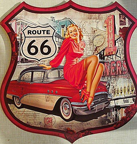 Route 66 - Pin Up Blechschild, 48 x 48 cm, konturgeschnitten