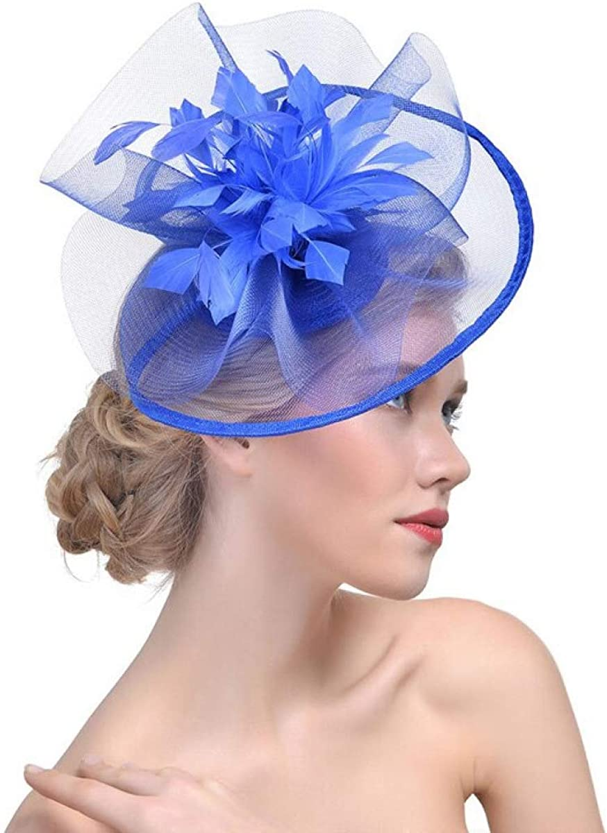 MELLOW SHOP Fascinator Hat with Feather for Women Girls Wedding Mesh Ribbon Church Cocktail