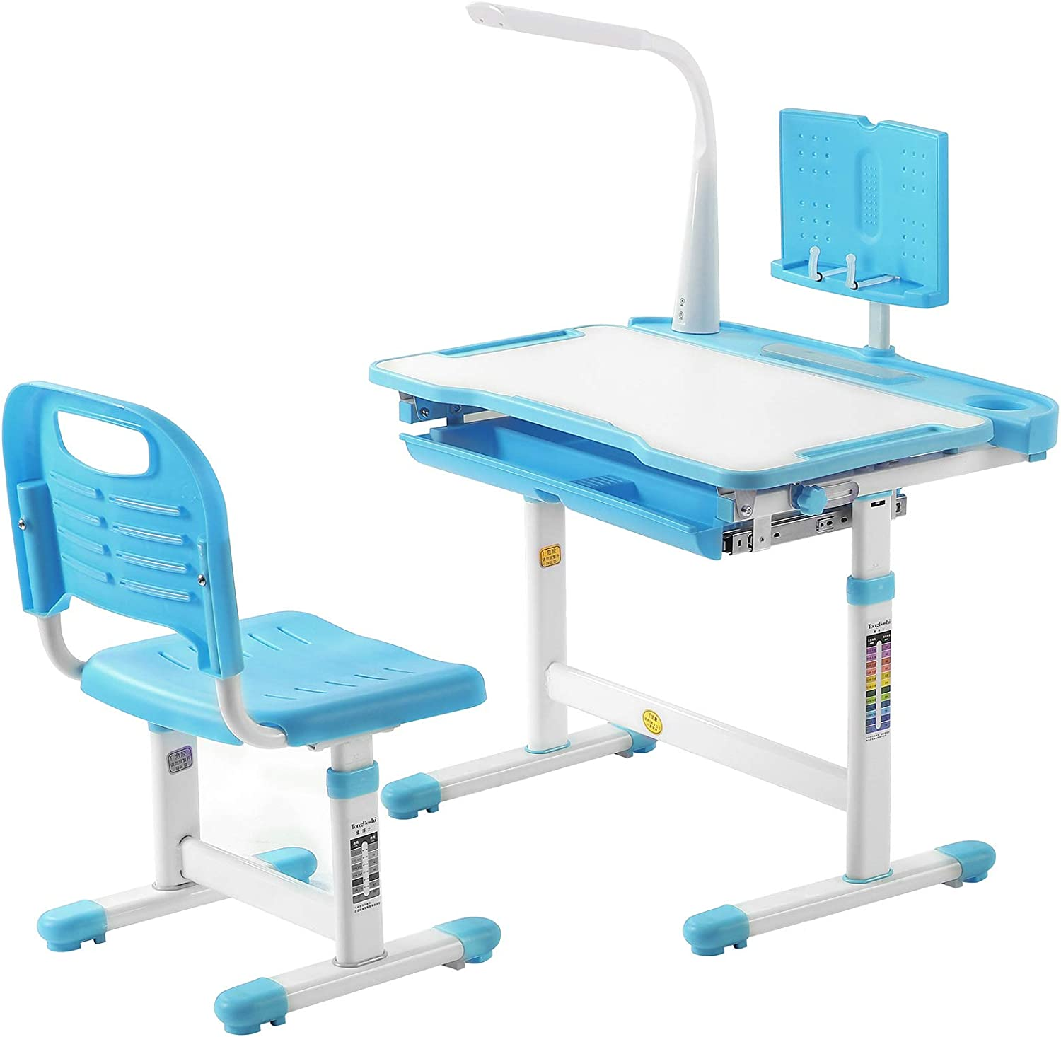 Yougoky Kids Desk and Chair Set Height Adjustable Children Study Table with Light, Ergonomic Home School Use Student Writing Desk, Tilt Desktop with Reading Board and Pull Out Drawer, Blue