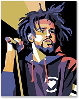 J Cole Poster - Vector Art Portrait - Geometric Illustration - Bedroom Poster for Teenager - Gift for Friend (11x14)