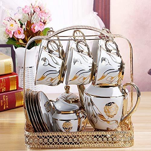 Juego de té de cerámica europea de 16 piezas, juego de café de servicio con 6 tazas, 1 tetera, 1 azucarero, 1 lechera, 1 estante de metal, 6 platillos para decoración de boda, regalo del hogar
